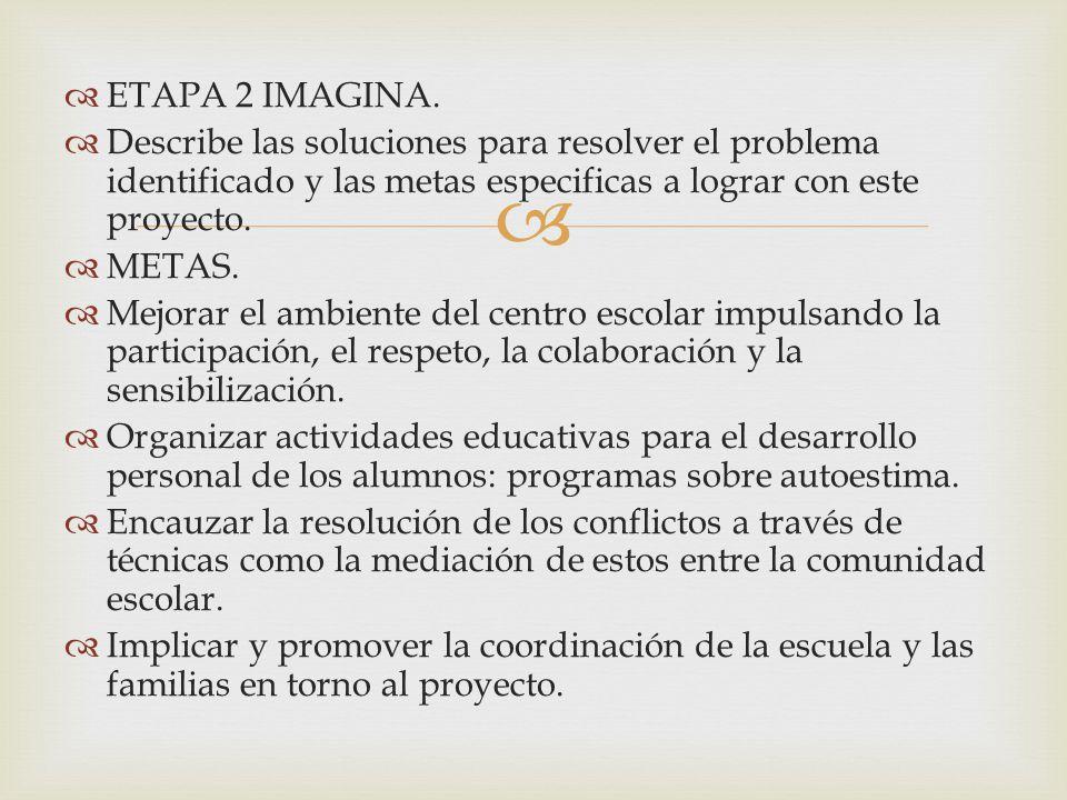 ETAPA 2 IMAGINA. Describe las soluciones para resolver el problema identificado y las metas especificas a lograr con este proyecto. METAS. Mejorar el