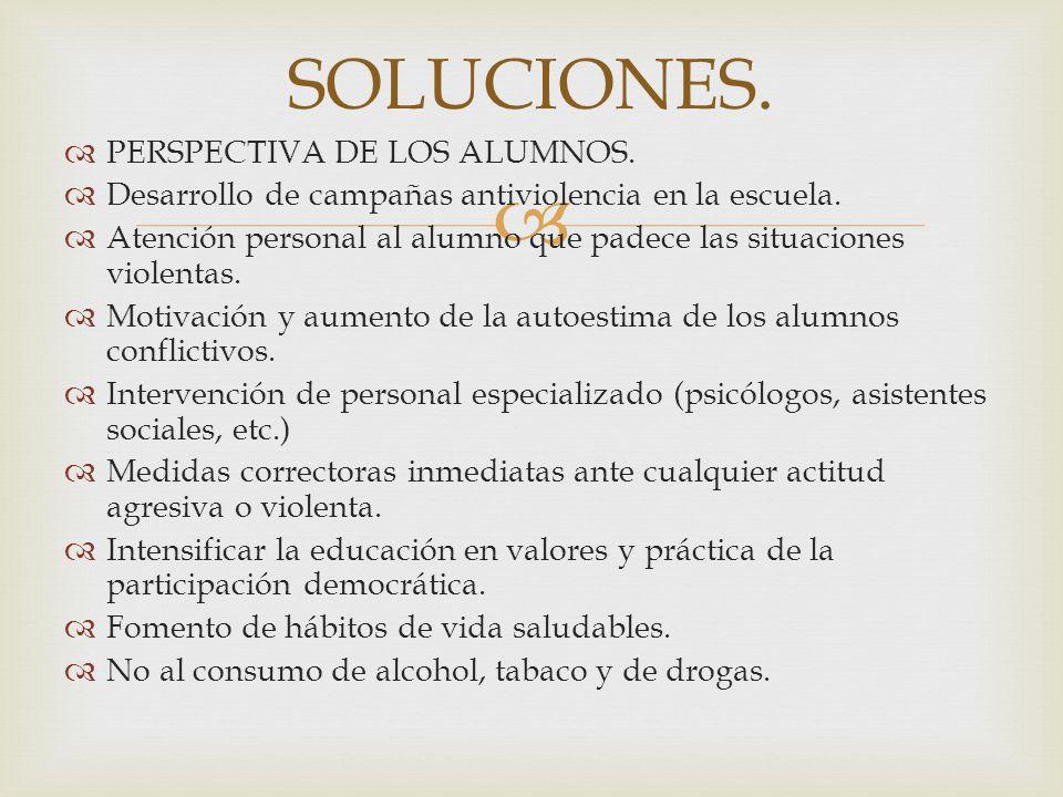 PERSPECTIVA DE LOS ALUMNOS. Desarrollo de campañas antiviolencia en la escuela. Atención personal al alumno que padece las situaciones violentas. Moti