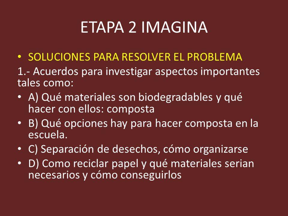 ETAPA 2 IMAGINA SOLUCIONES PARA RESOLVER EL PROBLEMA 1.- Acuerdos para investigar aspectos importantes tales como: A) Qué materiales son biodegradable
