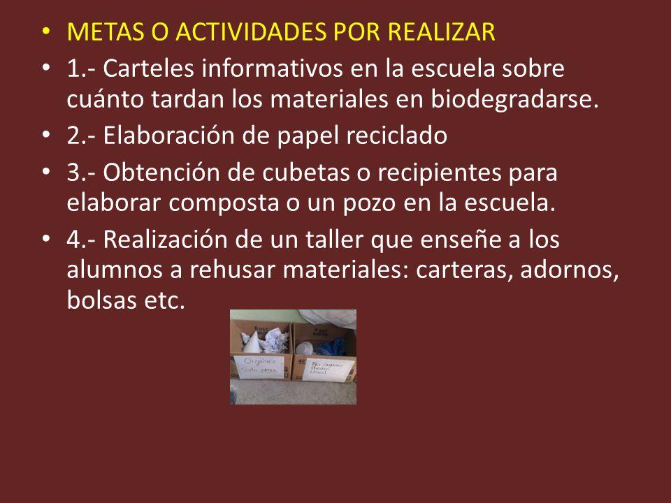 METAS O ACTIVIDADES POR REALIZAR 1.- Carteles informativos en la escuela sobre cuánto tardan los materiales en biodegradarse. 2.- Elaboración de papel