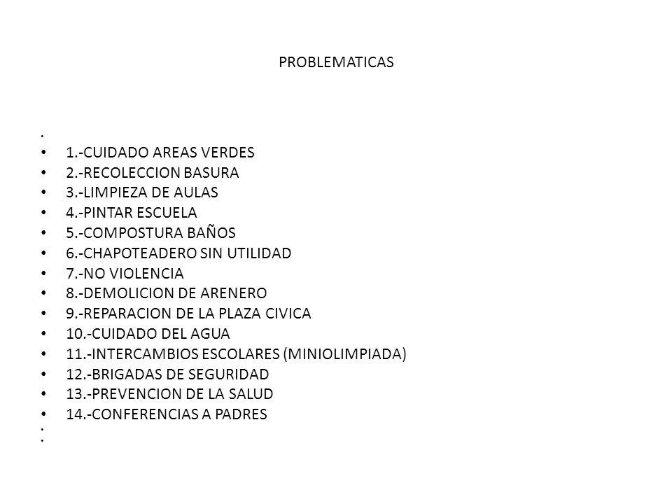 PROBLEMATICAS 1.-CUIDADO AREAS VERDES 2.-RECOLECCION BASURA 3.-LIMPIEZA DE AULAS 4.-PINTAR ESCUELA 5.-COMPOSTURA BAÑOS 6.-CHAPOTEADERO SIN UTILIDAD 7.