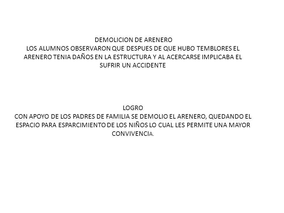 REPARACION DE LA PLAZA CIVICA LOS ALUMNOS COMENTARON QUE EL PISO DE LA PLAZA CIVICA SE ENCONTRABA EN MAL ESTADO (LEVANTAMIENTO), Y POR ESA SITUACION SE HABIAN TENIDO ALGUNOS ACCIDENTES LOGRO CON APOYO DE PADRES DE FAMILIA SE QUITO EL PISO QUE EXISTIA Y COLOCARON UNO NUEVO NIVELANDOLO AL PAREJO DEL YA EXISTENTE, ESTO HA PERMITIDO A LOS ALUMNOS PARTICIPAR EN EVENTOS CIVICOS, CULTURALES Y DEPORTIVOS SIN NINGUN RIESGO.