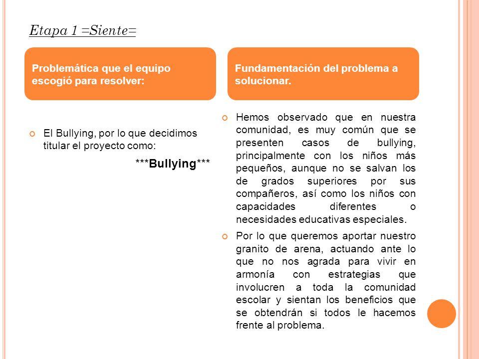 Etapa 1 =Siente= El Bullying, por lo que decidimos titular el proyecto como: ***Bullying*** Hemos observado que en nuestra comunidad, es muy común que