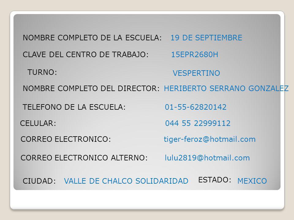 NOMBRE COMPLETO DE LA ESCUELA: CLAVE DEL CENTRO DE TRABAJO: TURNO: NOMBRE COMPLETO DEL DIRECTOR: TELEFONO DE LA ESCUELA: CELULAR: CORREO ELECTRONICO:
