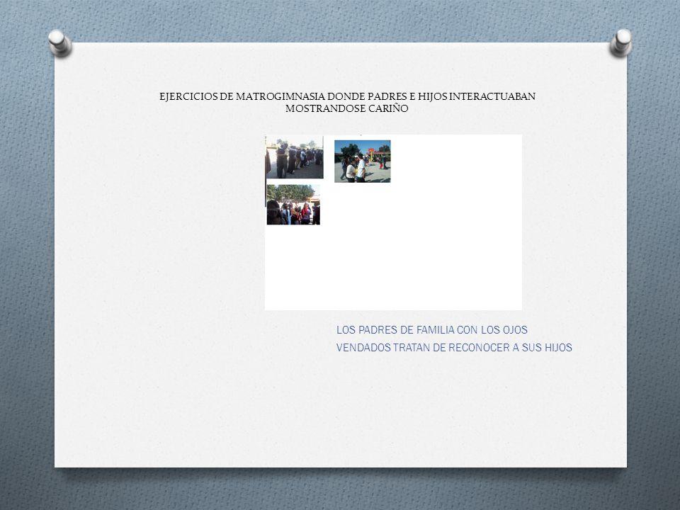 EJERCICIOS DE MATROGIMNASIA DONDE PADRES E HIJOS INTERACTUABAN MOSTRANDOSE CARIÑO LOS PADRES DE FAMILIA CON LOS OJOS VENDADOS TRATAN DE RECONOCER A SU