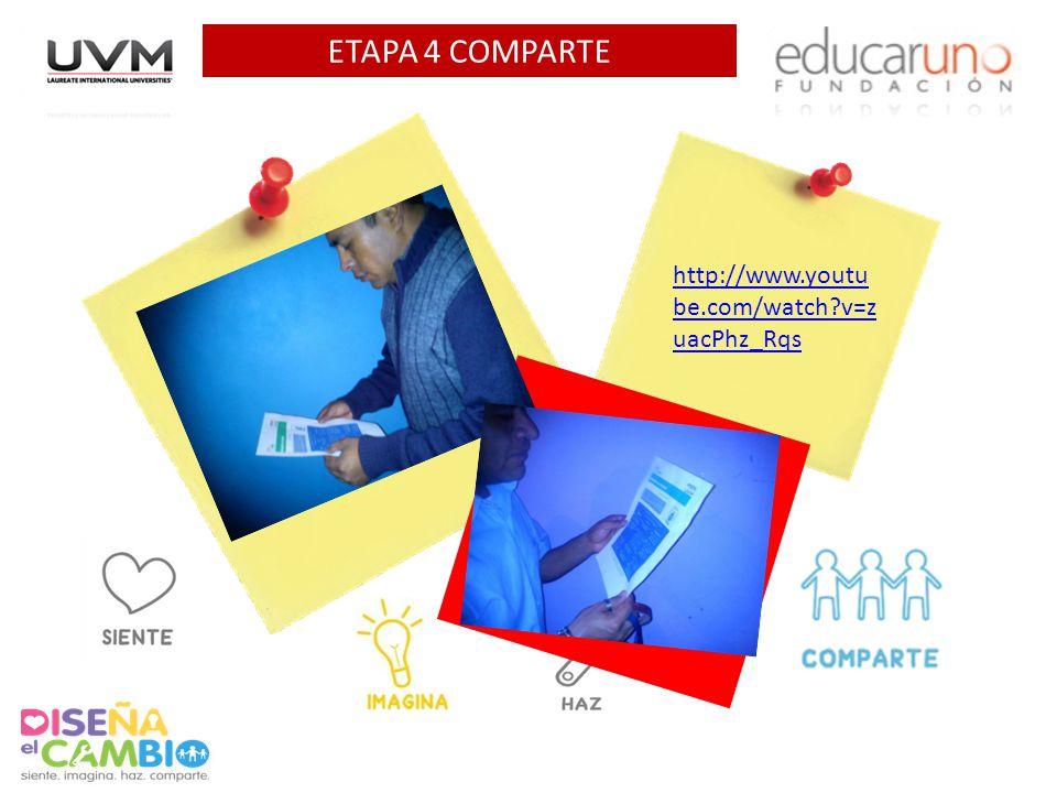 ETAPA 4 COMPARTE Agrega 1 foto AQUI Agrega EL VIDEO AQUI http://www.youtu be.com/watch v=z uacPhz_Rqs
