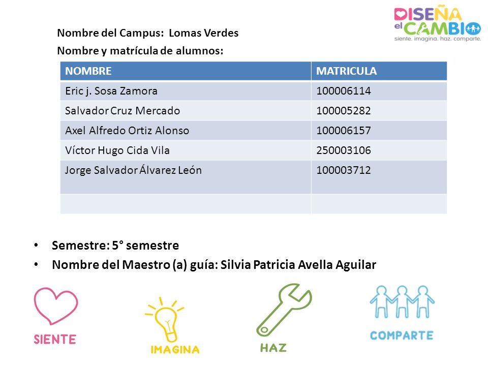 Semestre: 5° semestre Nombre del Maestro (a) guía: Silvia Patricia Avella Aguilar Nombre del Campus: Lomas Verdes Nombre y matrícula de alumnos: NOMBREMATRICULA Eric j.