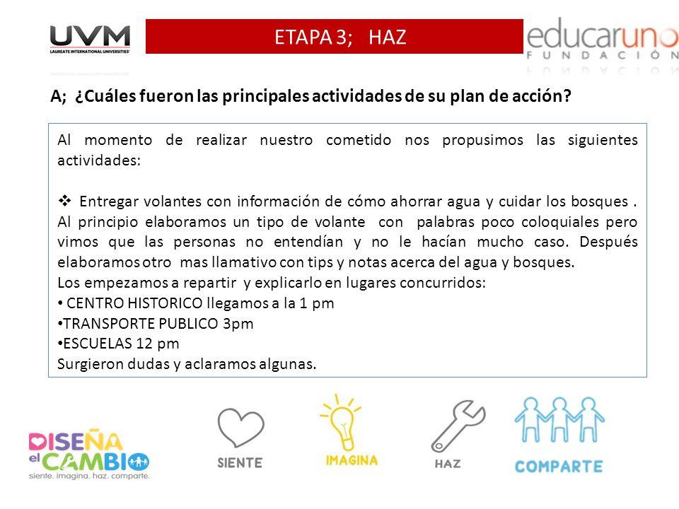 ETAPA 3; HAZ A; ¿Cuáles fueron las principales actividades de su plan de acción.
