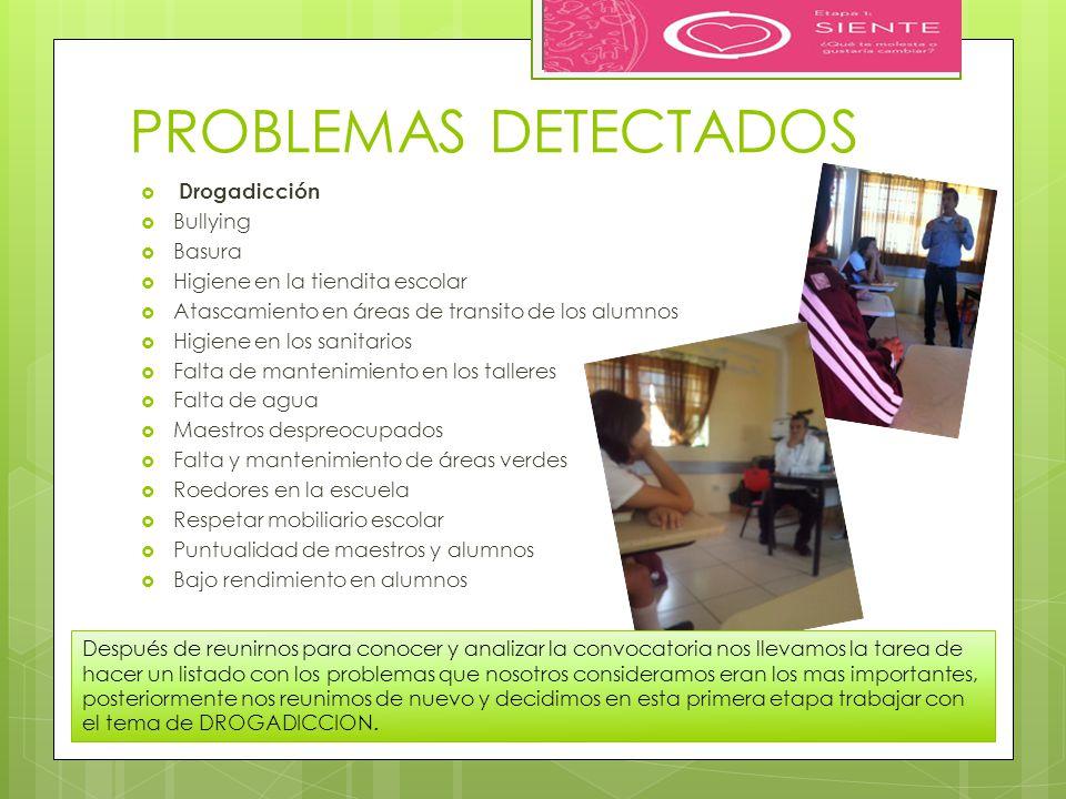 PROBLEMAS DETECTADOS Drogadicción Bullying Basura Higiene en la tiendita escolar Atascamiento en áreas de transito de los alumnos Higiene en los sanit
