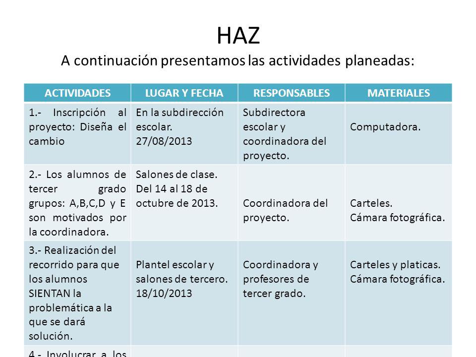 HAZ A continuación presentamos las actividades planeadas: ACTIVIDADESLUGAR Y FECHARESPONSABLESMATERIALES 1.- Inscripción al proyecto: Diseña el cambio