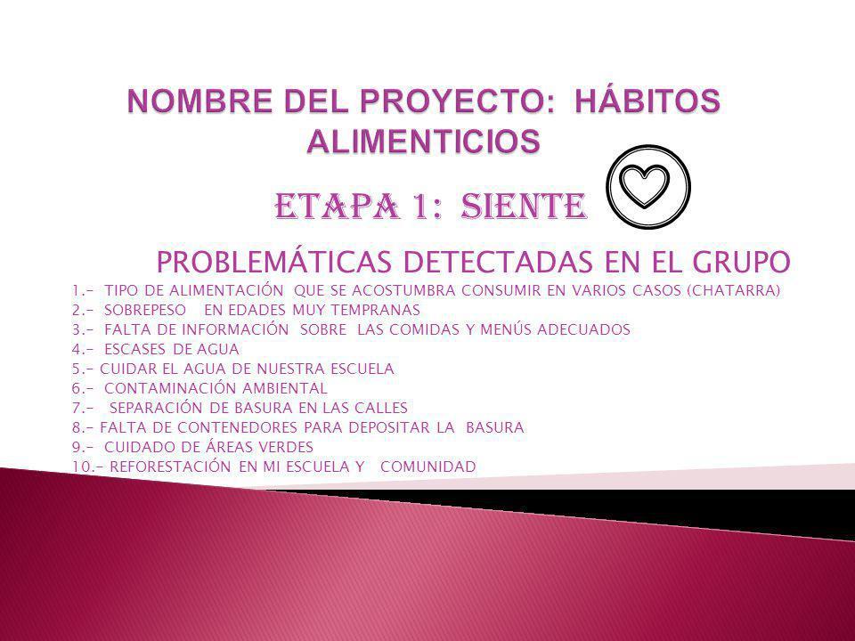 ETAPA 1: SIENTE PROBLEMÁTICAS DETECTADAS EN EL GRUPO 1.- TIPO DE ALIMENTACIÓN QUE SE ACOSTUMBRA CONSUMIR EN VARIOS CASOS (CHATARRA) 2.- SOBREPESO EN EDADES MUY TEMPRANAS 3.- FALTA DE INFORMACIÓN SOBRE LAS COMIDAS Y MENÚS ADECUADOS 4.- ESCASES DE AGUA 5.- CUIDAR EL AGUA DE NUESTRA ESCUELA 6.- CONTAMINACIÓN AMBIENTAL 7.- SEPARACIÓN DE BASURA EN LAS CALLES 8.- FALTA DE CONTENEDORES PARA DEPOSITAR LA BASURA 9.- CUIDADO DE ÁREAS VERDES 10.- REFORESTACIÓN EN MI ESCUELA Y COMUNIDAD