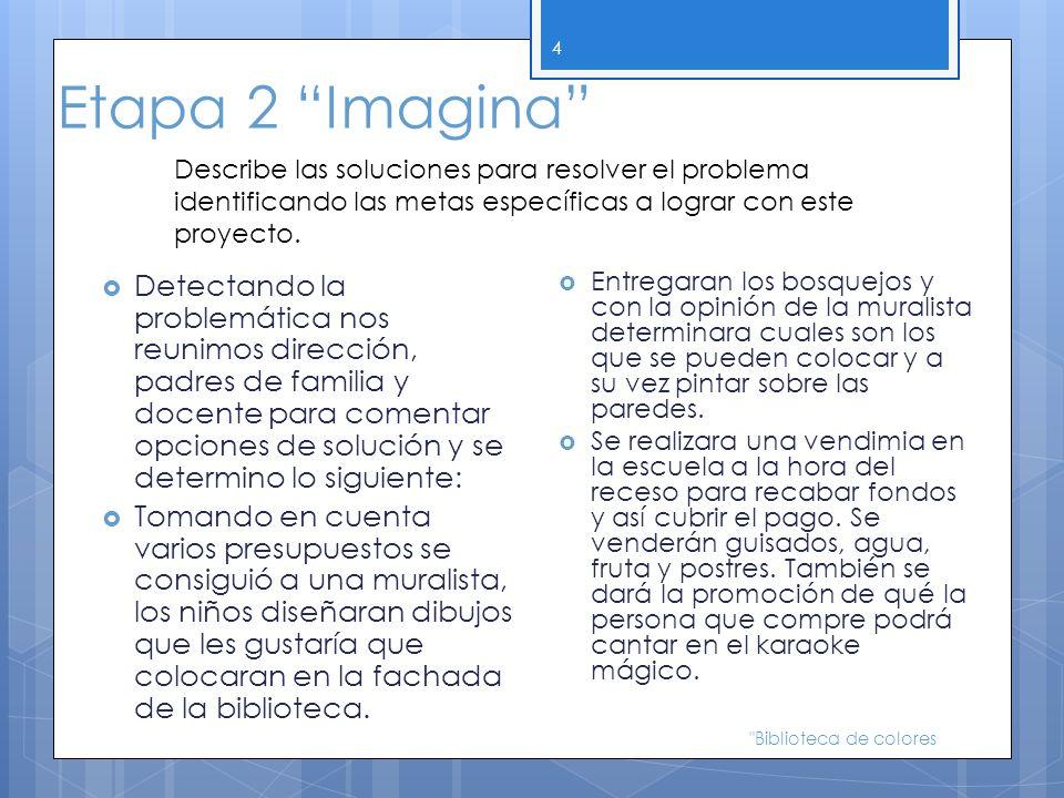 Etapa 2 Imagina Detectando la problemática nos reunimos dirección, padres de familia y docente para comentar opciones de solución y se determino lo si