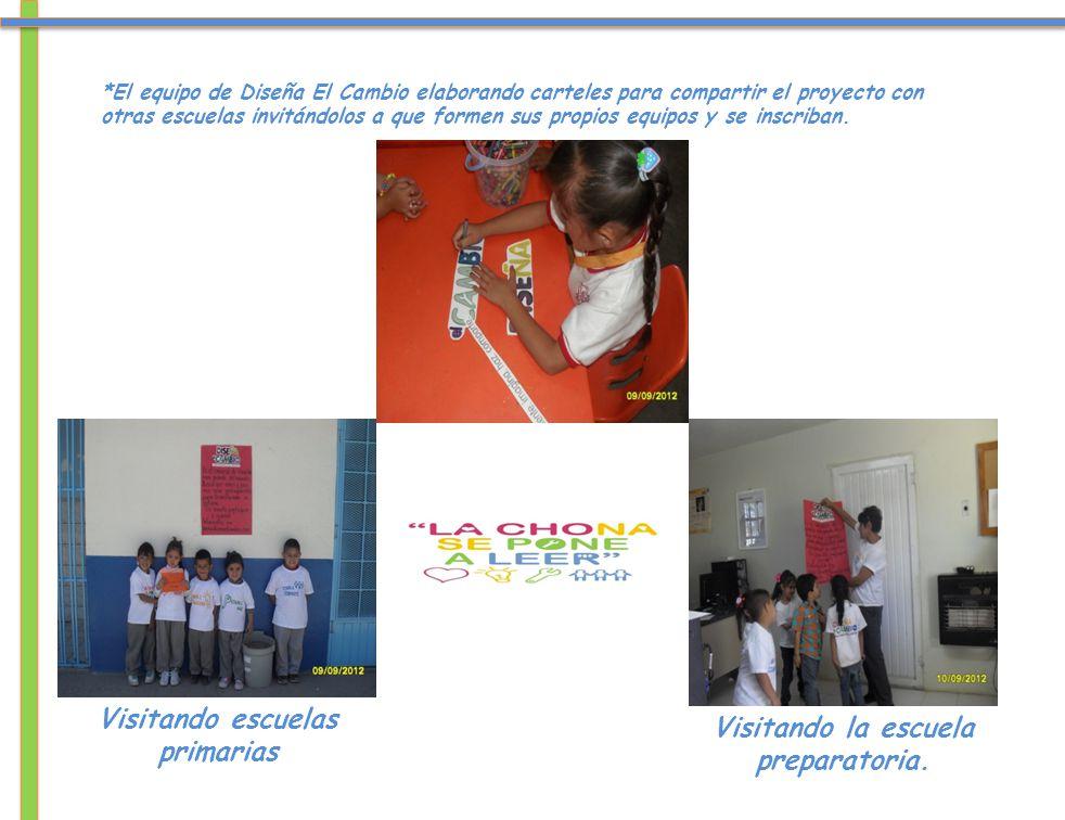 *El equipo de Diseña El Cambio elaborando carteles para compartir el proyecto con otras escuelas invitándolos a que formen sus propios equipos y se inscriban.