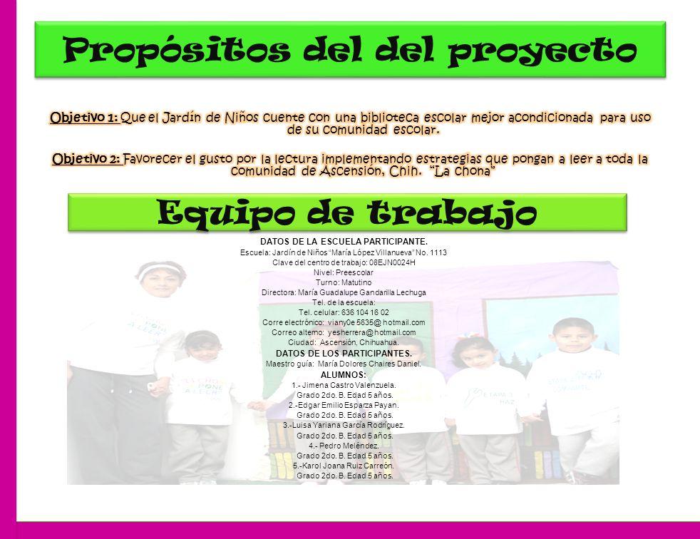 Propósitos del del proyecto Equipo de trabajo DATOS DE LA ESCUELA PARTICIPANTE.