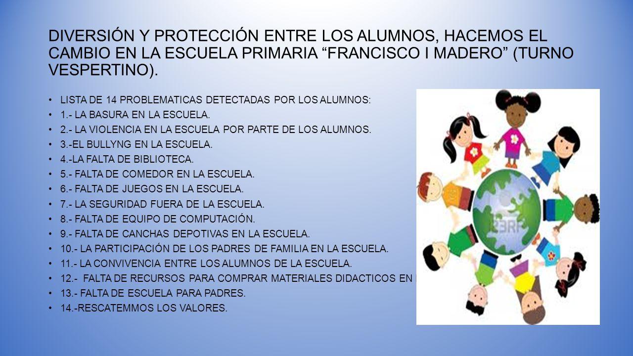 DIVERSIÓN Y PROTECCIÓN ENTRE LOS ALUMNOS, HACEMOS EL CAMBIO EN LA ESCUELA PRIMARIA FRANCISCO I MADERO (TURNO VESPERTINO). LISTA DE 14 PROBLEMATICAS DE