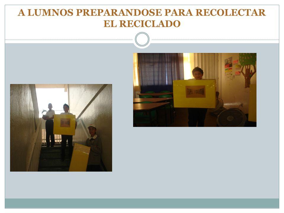 A LUMNOS PREPARANDOSE PARA RECOLECTAR EL RECICLADO