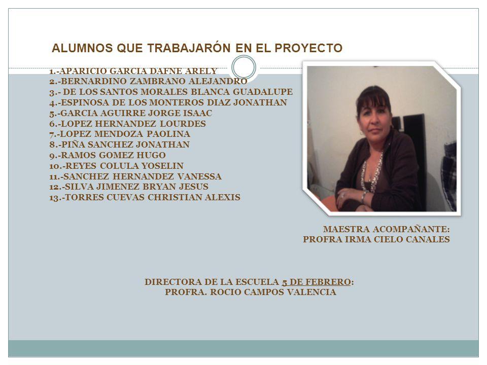 ALUMNOS QUE TRABAJARÓN EN EL PROYECTO 1.-APARICIO GARCIA DAFNE ARELY 2.-BERNARDINO ZAMBRANO ALEJANDRO 3.- DE LOS SANTOS MORALES BLANCA GUADALUPE 4.-ES