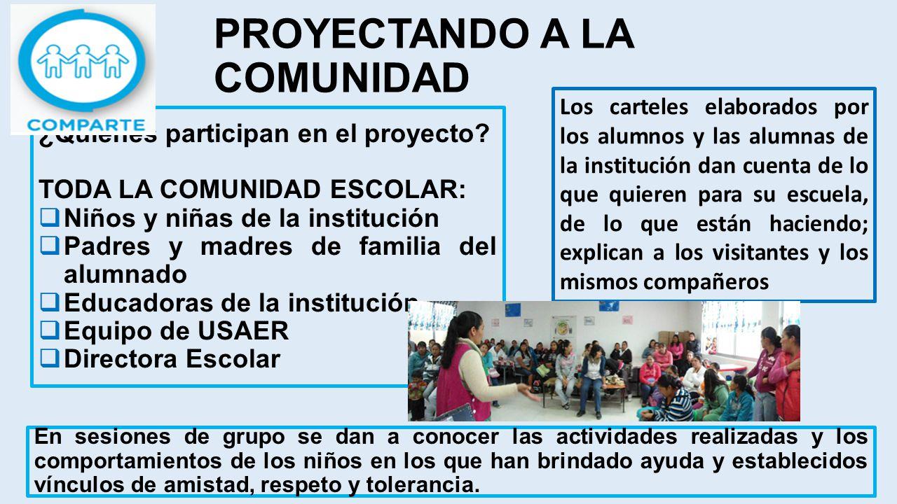 PROYECTANDO A LA COMUNIDAD En sesiones de grupo se dan a conocer las actividades realizadas y los comportamientos de los niños en los que han brindado