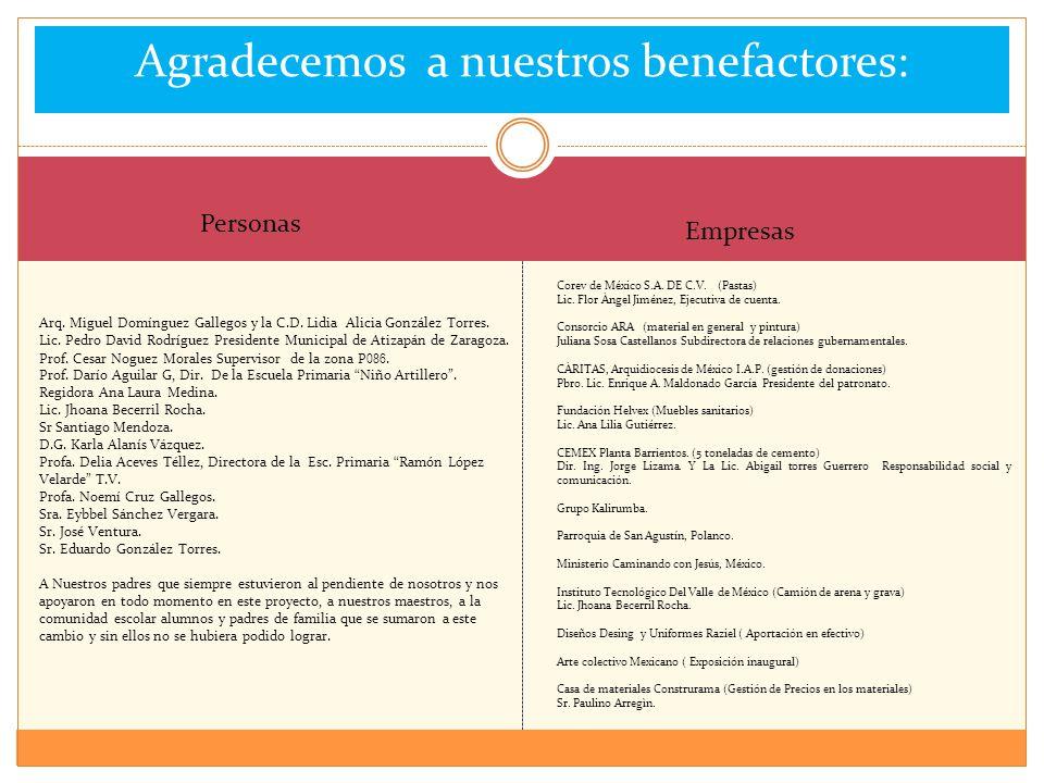 Agradecemos a nuestros benefactores: Arq. Miguel Domínguez Gallegos y la C.D. Lidia Alicia González Torres. Lic. Pedro David Rodríguez Presidente Muni