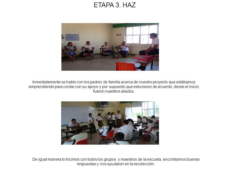 ETAPA 3. HAZ Inmediatamente se hablo con los padres de familia acerca de nuestro proyecto que estábamos emprendiendo para contar con su apoyo y por su