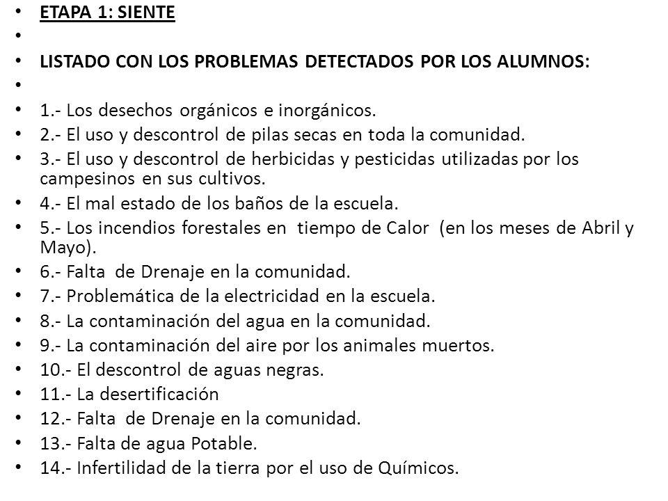 ETAPA 1: SIENTE LISTADO CON LOS PROBLEMAS DETECTADOS POR LOS ALUMNOS: 1.- Los desechos orgánicos e inorgánicos. 2.- El uso y descontrol de pilas secas