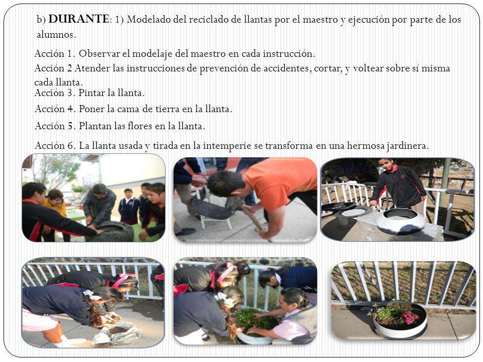 b) DURANTE : 1) Modelado del reciclado de llantas por el maestro y ejecución por parte de los alumnos. Acción 1. Observar el modelaje del maestro en c