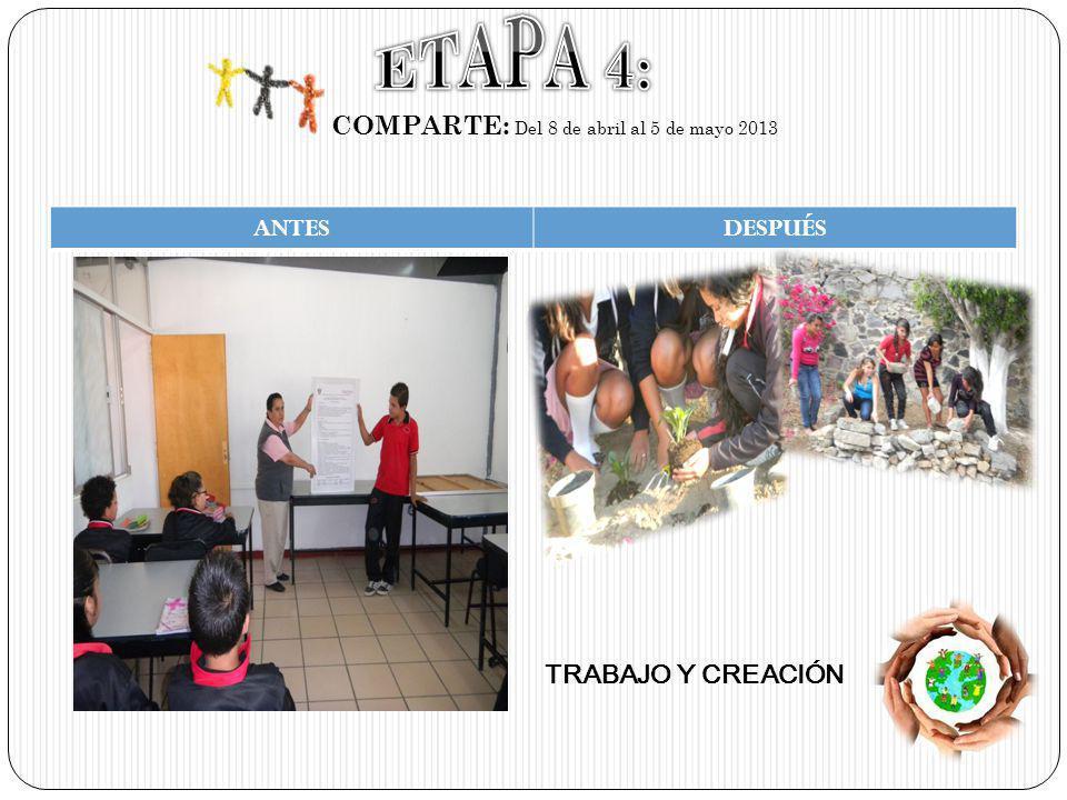 COMPARTE: Del 8 de abril al 5 de mayo 2013 ANTESDESPUÉS TRABAJO Y CREACIÓN