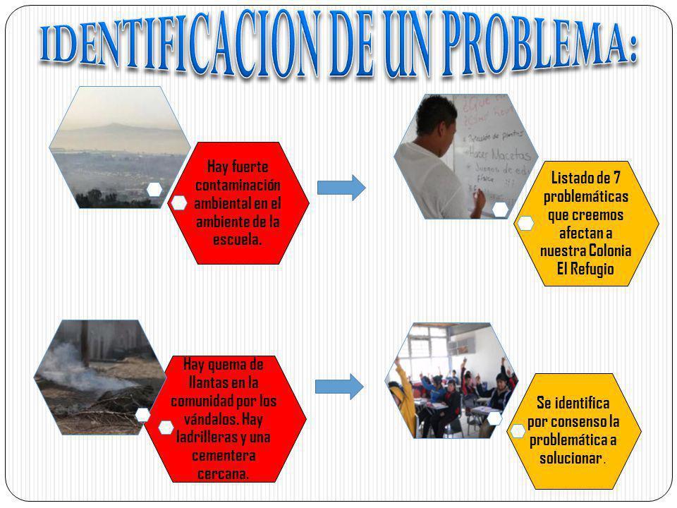 Listado de 7 problemáticas que creemos afectan a nuestra Colonia El Refugio Hay fuerte contaminación ambiental en el ambiente de la escuela. Hay quema