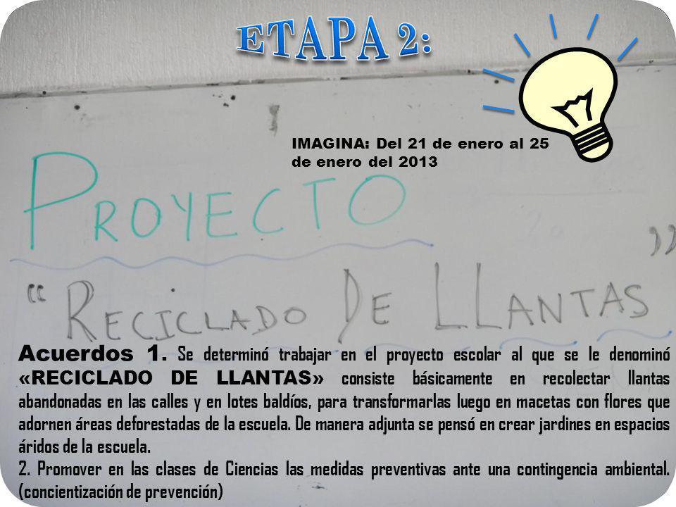 IMAGINA: Del 21 de enero al 25 de enero del 2013 Acuerdos 1. Se determinó trabajar en el proyecto escolar al que se le denominó «RECICLADO DE LLANTAS»