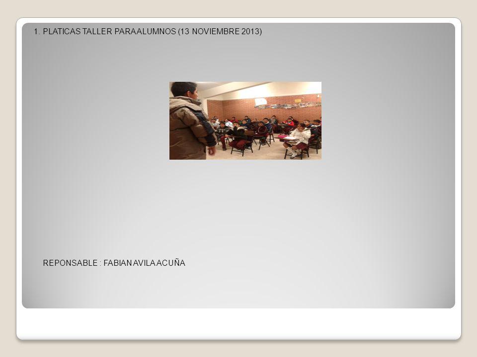1. PLATICAS TALLER PARA ALUMNOS (13 NOVIEMBRE 2013) REPONSABLE : FABIAN AVILA ACUÑA