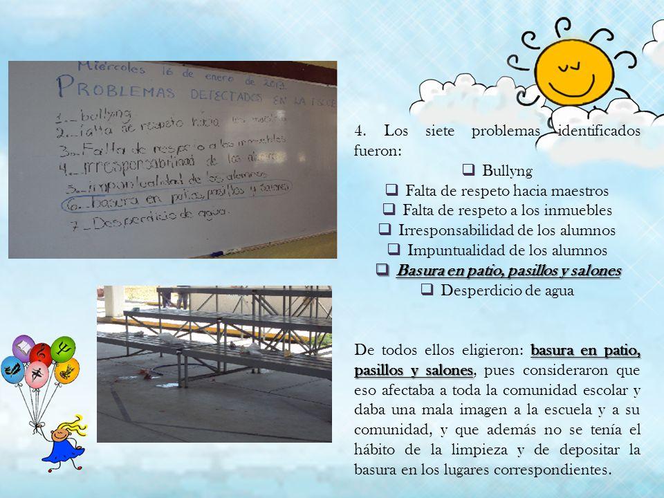 4. Los siete problemas identificados fueron: Bullyng Falta de respeto hacia maestros Falta de respeto a los inmuebles Irresponsabilidad de los alumnos