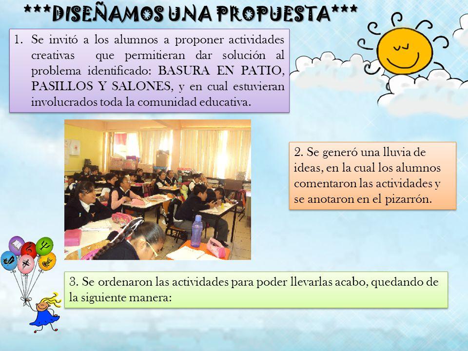 ***DISEÑAMOS UNA PROPUESTA*** 1.Se invitó a los alumnos a proponer actividades creativas que permitieran dar solución al problema identificado: BASURA