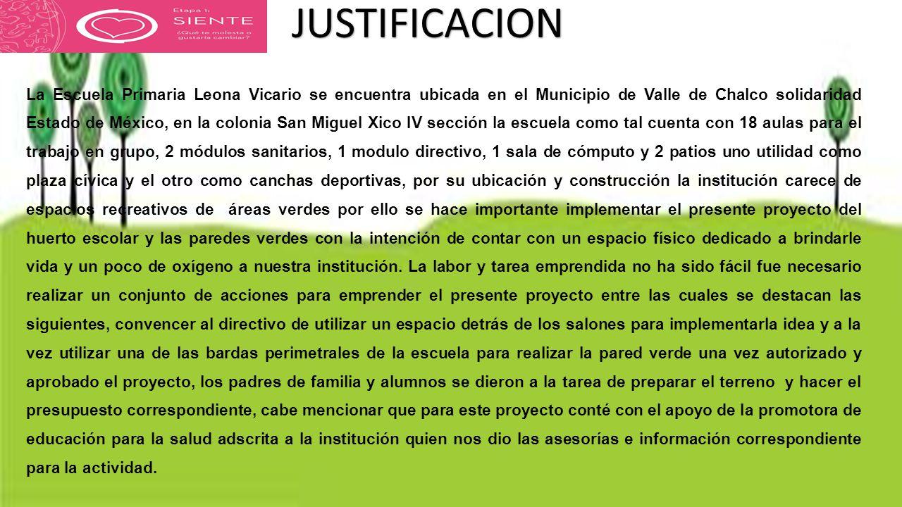 La Escuela Primaria Leona Vicario se encuentra ubicada en el Municipio de Valle de Chalco solidaridad Estado de México, en la colonia San Miguel Xico