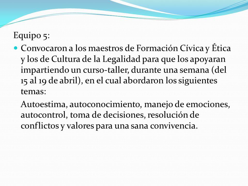 Equipo 5: Convocaron a los maestros de Formación Cívica y Ética y los de Cultura de la Legalidad para que los apoyaran impartiendo un curso-taller, du