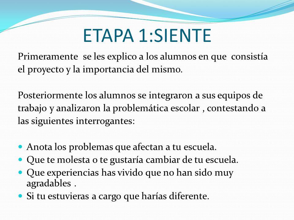 ETAPA 1:SIENTE Primeramente se les explico a los alumnos en que consistía el proyecto y la importancia del mismo. Posteriormente los alumnos se integr