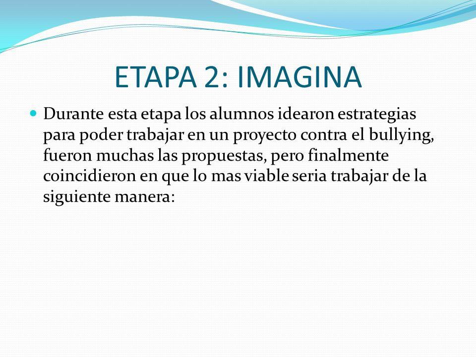 ETAPA 2: IMAGINA Durante esta etapa los alumnos idearon estrategias para poder trabajar en un proyecto contra el bullying, fueron muchas las propuesta