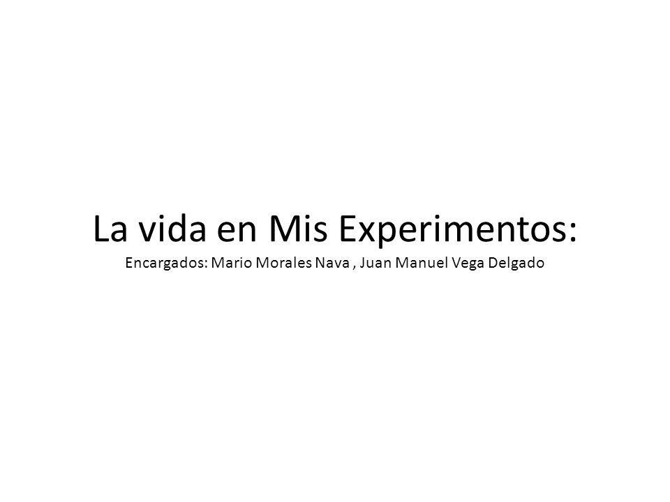 La vida en Mis Experimentos: Encargados: Mario Morales Nava, Juan Manuel Vega Delgado