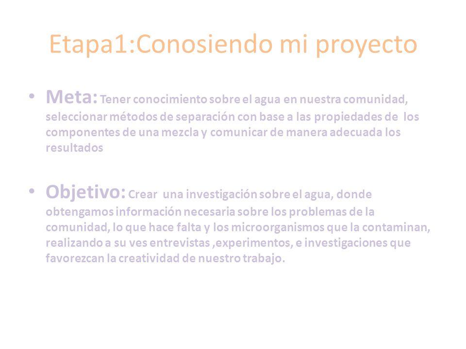 Etapa1:Conosiendo mi proyecto Meta: Tener conocimiento sobre el agua en nuestra comunidad, seleccionar métodos de separación con base a las propiedade