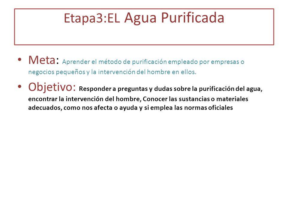 Etapa3:EL Agua Purificada Meta: Aprender el método de purificación empleado por empresas o negocios pequeños y la intervención del hombre en ellos. Ob
