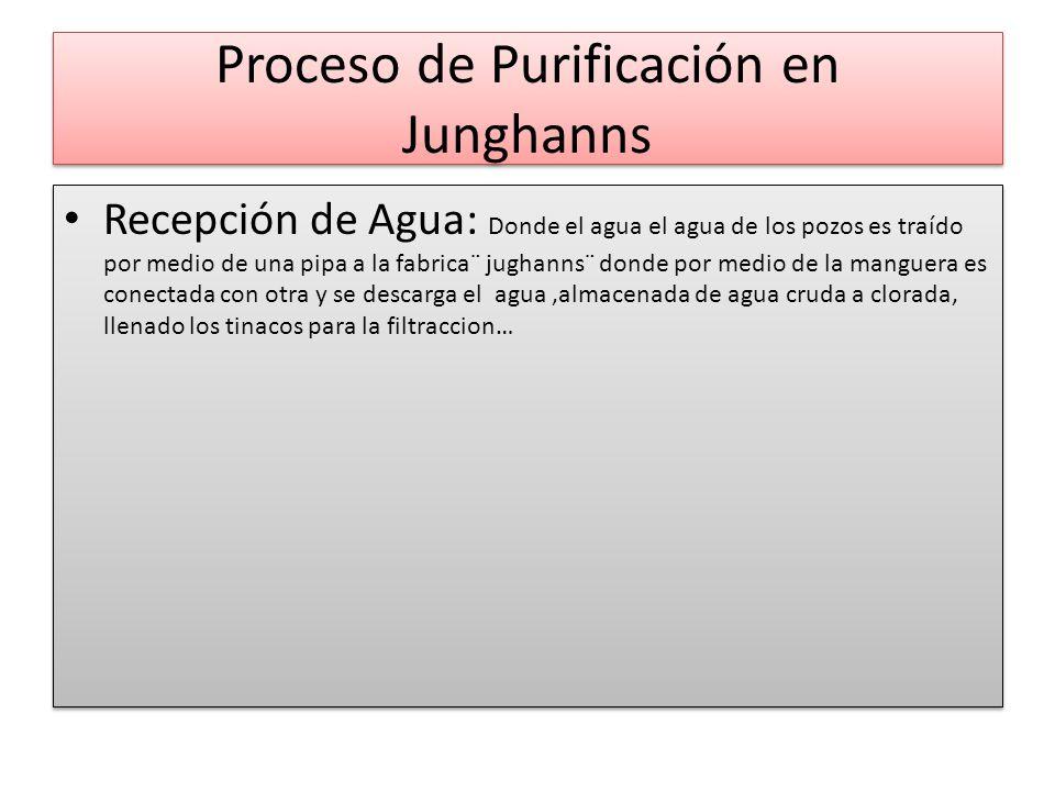 Proceso de Purificación en Junghanns Recepción de Agua: Donde el agua el agua de los pozos es traído por medio de una pipa a la fabrica¨ jughanns¨ don