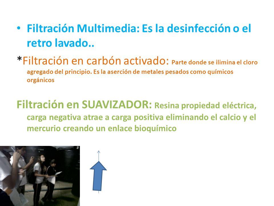Filtración Multimedia: Es la desinfección o el retro lavado.. *Filtración en carbón activado: Parte donde se ilimina el cloro agregado del principio.