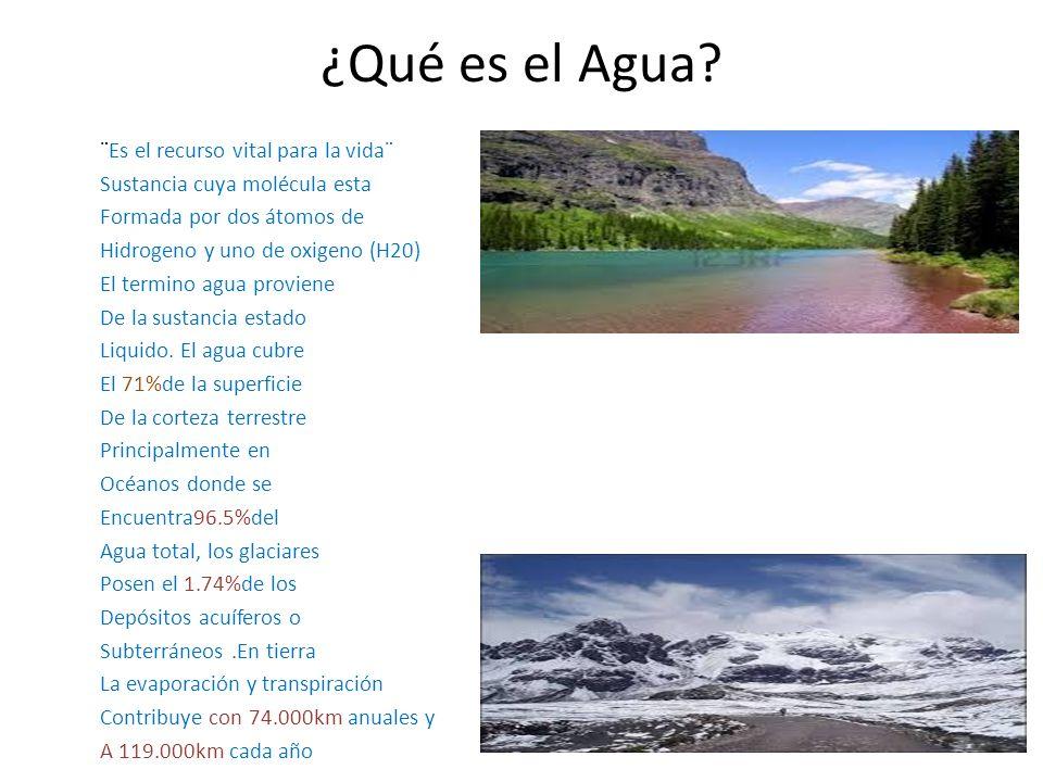 ¿Qué es el Agua? ¨Es el recurso vital para la vida¨ Sustancia cuya molécula esta Formada por dos átomos de Hidrogeno y uno de oxigeno (H20) El termino