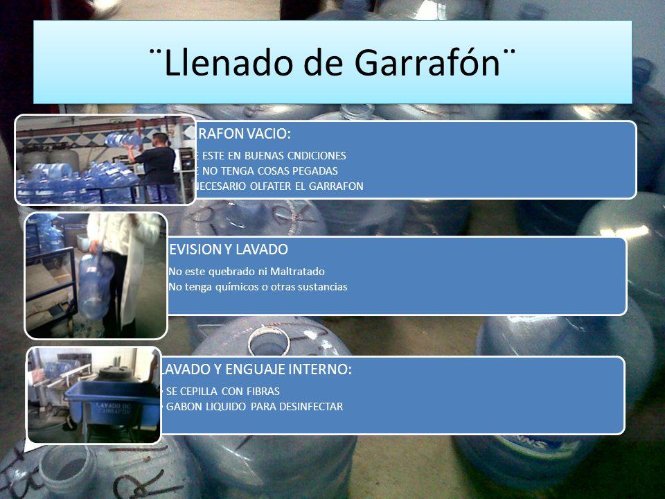 ¨Llenado de Garrafón¨ GARRAFON VACIO: QUE ESTE EN BUENAS CNDICIONES QUE NO TENGA COSAS PEGADAS ES NECESARIO OLFATER EL GARRAFON REVISION Y LAVADO No e
