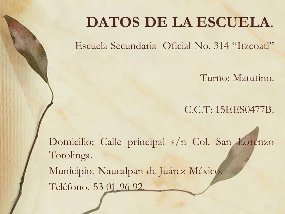 DATOS DE LA ESCUELA. Escuela Secundaria Oficial No. 314 Itzcoatl Turno: Matutino. C.C.T: 15EES0477B. Domicilio: Calle principal s/n Col. San Lorenzo T