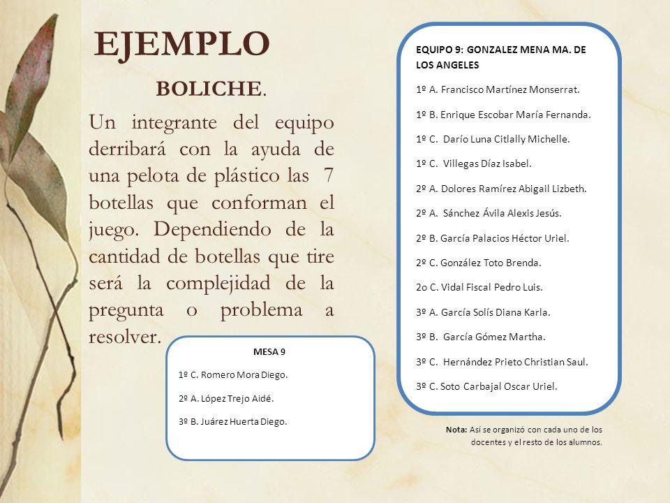 EJEMPLO BOLICHE. Un integrante del equipo derribará con la ayuda de una pelota de plástico las 7 botellas que conforman el juego. Dependiendo de la ca