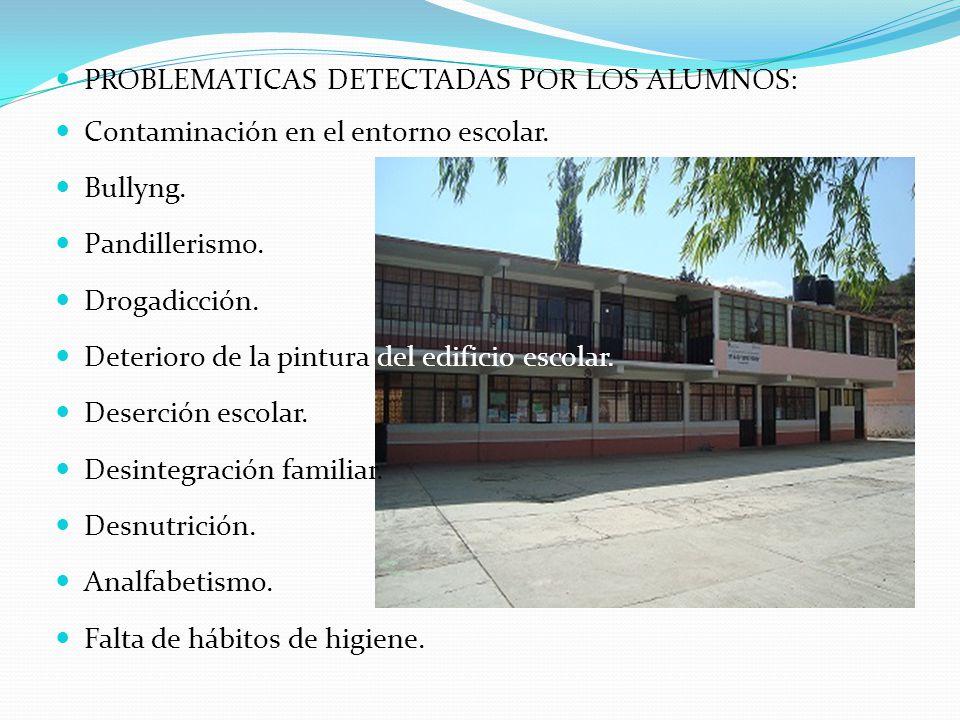 PROBLEMATICAS DETECTADAS POR LOS ALUMNOS: Contaminación en el entorno escolar. Bullyng. Pandillerismo. Drogadicción. Deterioro de la pintura del edifi