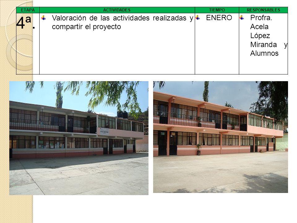 ETAPA ACTIVIDADES TIEMPORESPONSABLES 4ª. Valoración de las actividades realizadas y compartir el proyecto ENEROProfra. Acela López Miranda y Alumnos