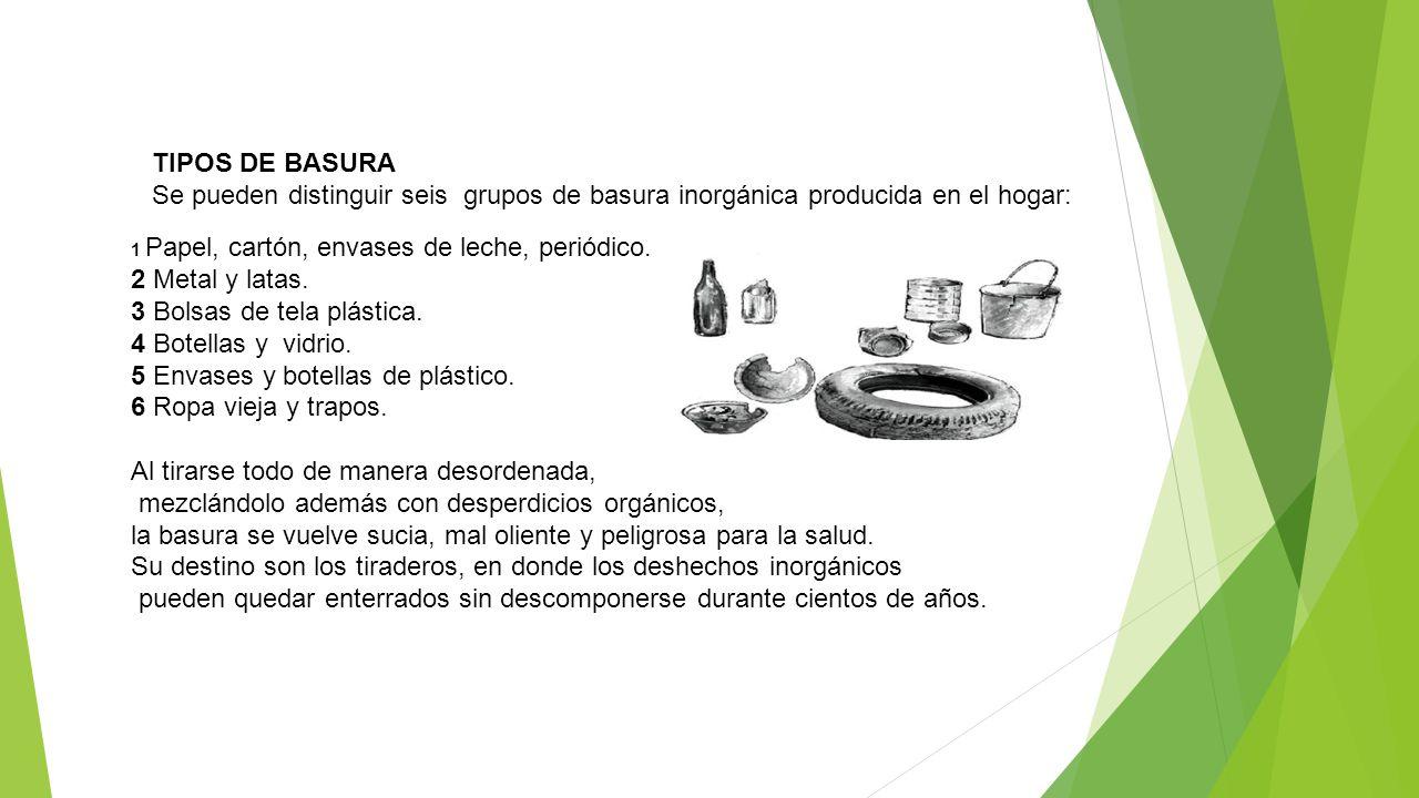 TIPOS DE BASURA Se pueden distinguir seis grupos de basura inorgánica producida en el hogar: 1 Papel, cartón, envases de leche, periódico. 2 Metal y l