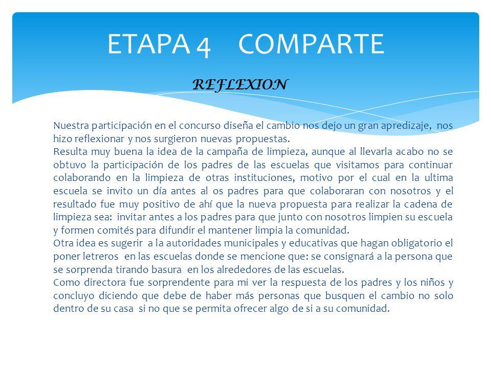ETAPA 4 COMPARTE REFLEXION Nuestra participación en el concurso diseña el cambio nos dejo un gran apredizaje, nos hizo reflexionar y nos surgieron nue