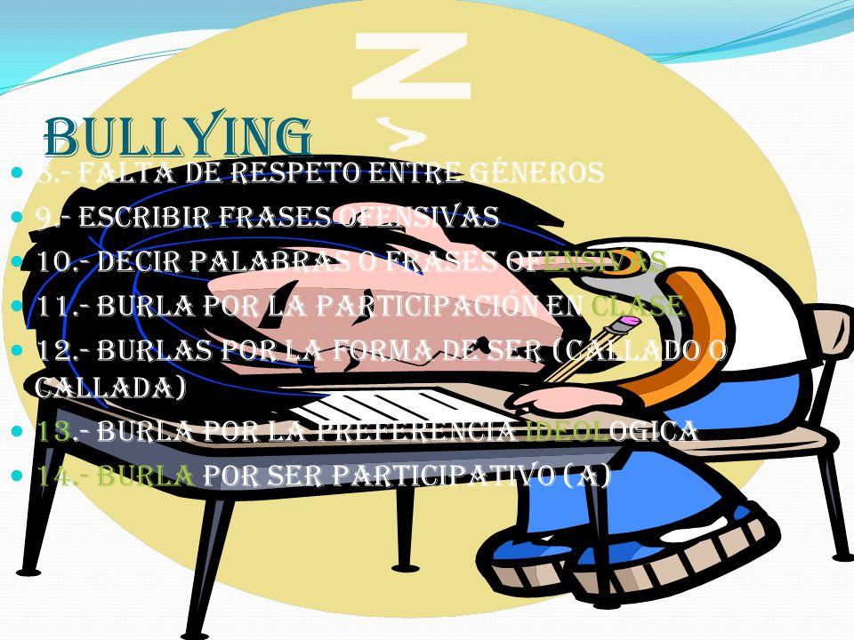 bullying 8.- falta de respeto entre géneros 9.- escribir frases ofensivas 10.- decir palabras o frases ofensivas 11.- burla POR la participación en clase 12.- burlas por la forma de ser (callado o callada) 13.- burla por la preferencia ideologica 14.- burla por ser participativo (a)